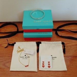 NWT Kate Spade Heart Matching Necklace & Earrings